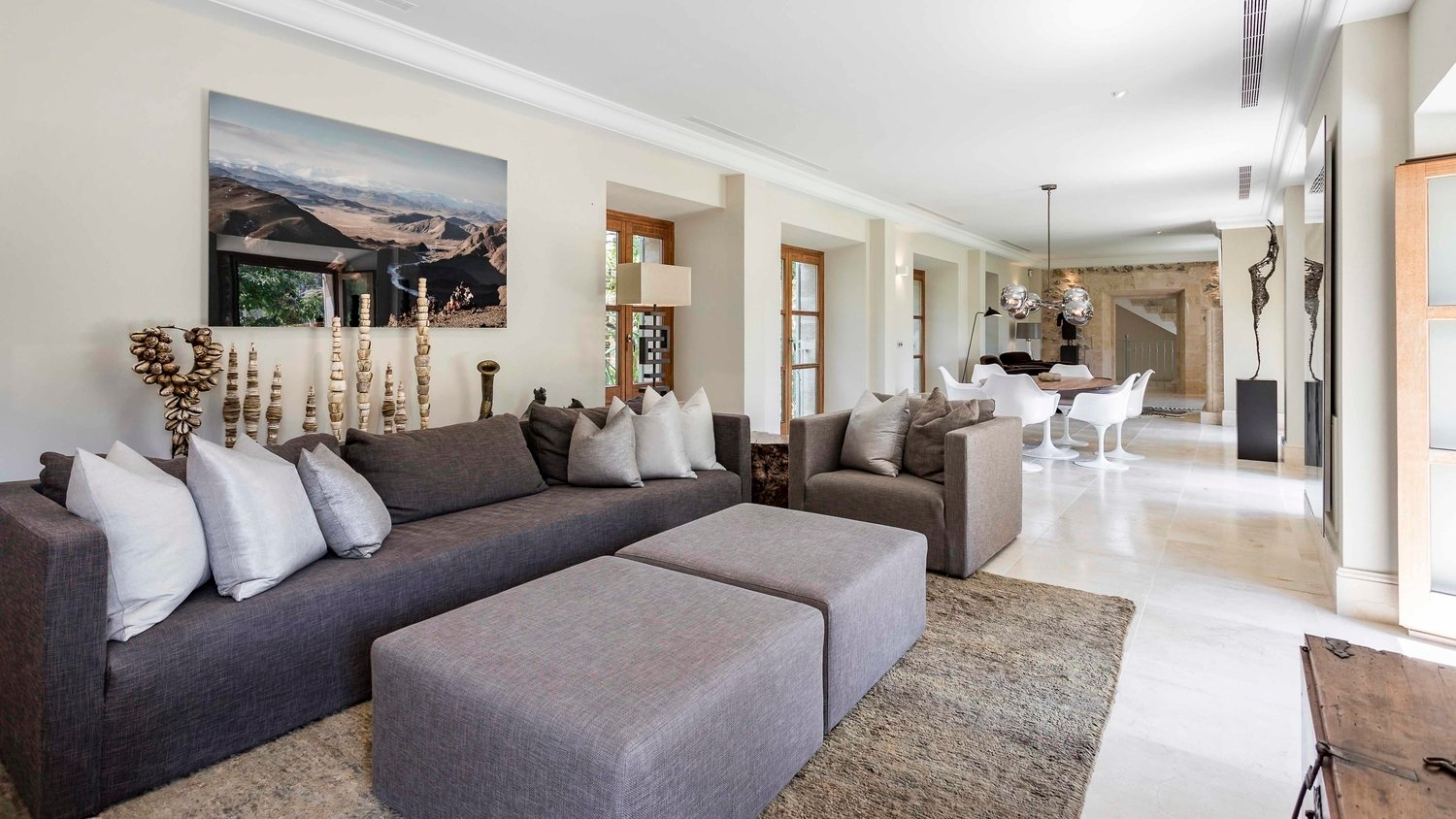Authentic Mallorcan Mansion with Panoramic Countryside Views Living Room