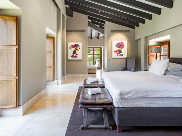 Authentic Mallorcan Mansion with Panoramic Countryside Views Bedroom