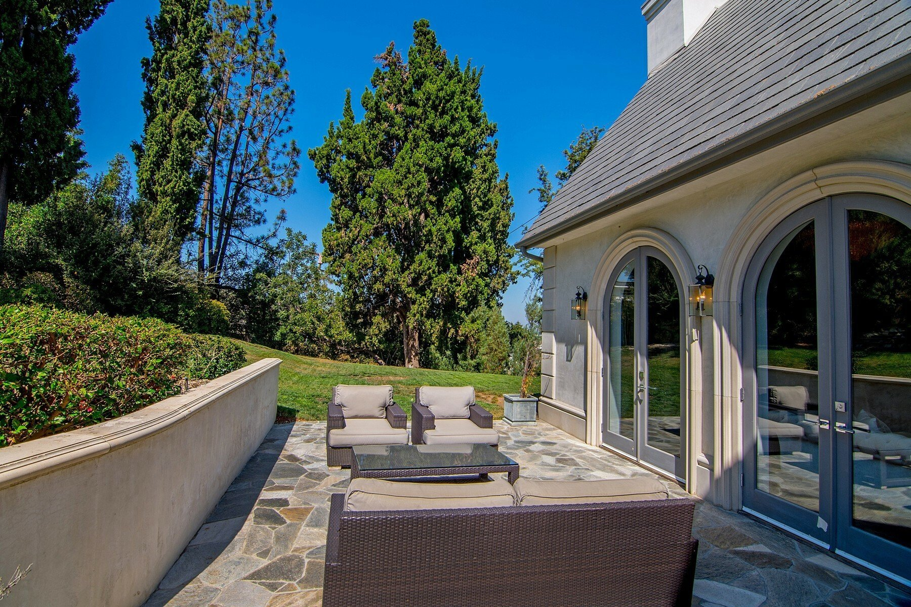 French Chateau in San Fernando Valley Patio